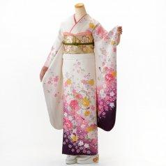 振袖 フルセット 花柄 Mサイズ 白・グレー系 (中古 リユース 美品) 86238