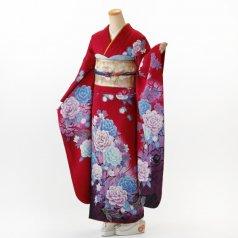 振袖 フルセット 花柄 Lサイズ 赤・ワイン系 (中古 リユース 美品) 16304