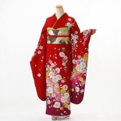振袖 フルセット 花柄 Lサイズ 赤・ワイン系 (中古 リユース 美品) 16319