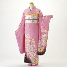 振袖 フルセット 花柄 Mサイズ ピンク・オレンジ系 (中古 リユース 美品) 46226