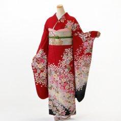振袖 フルセット 花柄 Mサイズ 赤・ワイン系 (中古 リユース 美品) 16236
