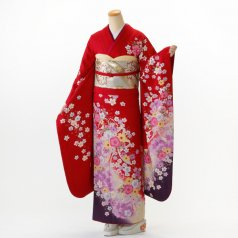 振袖 フルセット 花柄 Mサイズ 赤・ワイン系 (中古 リユース 美品) 16240