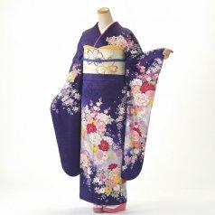 振袖 フルセット 花柄 Mサイズ 紫系 (中古 リユース 美品) 56382
