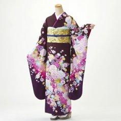 振袖 フルセット 花柄 Mサイズ 茶系 (中古 リユース 美品) 76474
