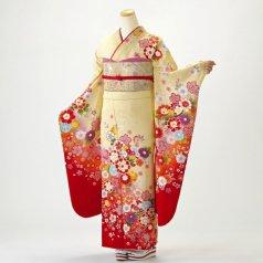 振袖 フルセット 花柄 Lサイズ からし・黄系 (中古 リユース 美品) 36563