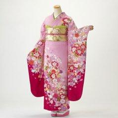 振袖 フルセット 花柄 Lサイズ ピンク・オレンジ系 (中古 リユース 美品) 46420