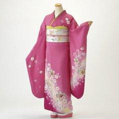 振袖 フルセット 花柄 Mサイズ ピンク・オレンジ系 (中古 リユース 美品) 46057