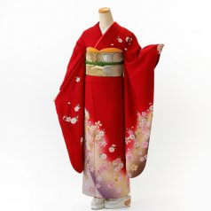 振袖 フルセット 花柄 Mサイズ 赤・ワイン系 (中古 リユース 美品) 16056