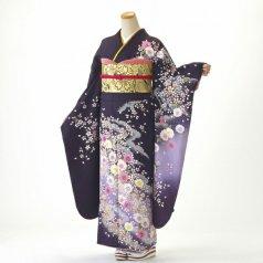 振袖 フルセット 花柄 Lサイズ 紫系 (中古 リユース 美品) 56188