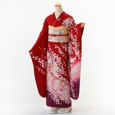 振袖 フルセット 花柄 Lサイズ 赤・ワイン系 (中古 リユース 美品) 16197