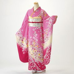 振袖 フルセット 花柄 Lサイズ ピンク・オレンジ系 (中古 リユース 美品) 46198