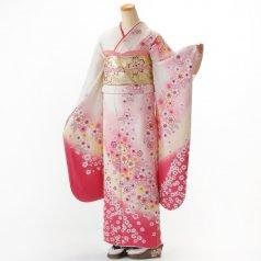 振袖 フルセット 花柄 Mサイズ 白・グレー系 (中古 リユース 美品) 86198