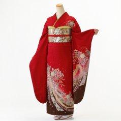 振袖 フルセット 辻が花 Lサイズ 赤・ワイン系 (中古 リユース 美品) 12004