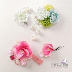 髪飾り ヘアアクセ お花2点セット 白 ピンク コサージュ