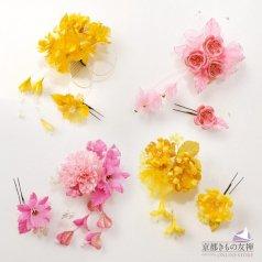 髪飾り ヘアアクセ お花2点セット 黄色 ピンク コサージュ