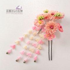 髪飾り つまみ細工 ヘアアクセ お花 ピンク かんざし