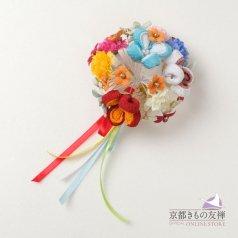 髪飾り ヘアアクセ お花 マルチカラー コーム