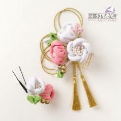 髪飾り つまみ細工 ヘアアクセ お花2点セット 白 ピンク タッセル【花ごころ】