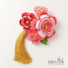 髪飾り つまみ細工 ヘアアクセ お花 ピンク コーム【日本製】
