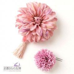 髪飾り ヘアアクセ お花2点セット クラシックピンク ラベンダー タッセル