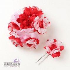 髪飾り ヘアアクセ お花2点セット 赤 コサージュ【日本製】