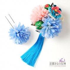 髪飾り つまみ細工 ヘアアクセ お花 青 コサージュ