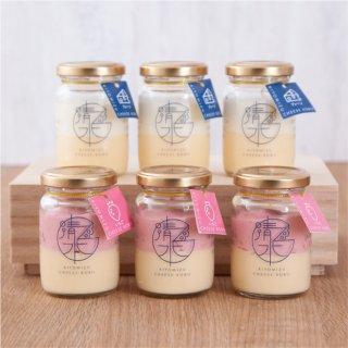 清水チーズ工房 ボトルチーズケーキ6個セット(プレーン3個+いちご3個)