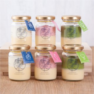 清水チーズ工房 ボトルチーズケーキ6個セット(プレーン2個+いちご2個+抹茶2個)