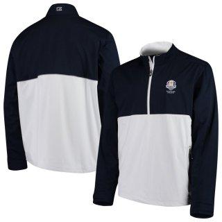 2020 ライダーカップ Cutter & Buck Fairway Long Sleeve Half-Zip Pullover ジャケット - Navy/White