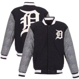 デトロイト・タイガース JH Design Wool & Faux Leather Full-Snap ジャケット - Navy