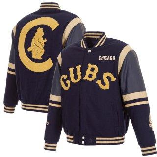 シカゴ・カブス JH Design Wool & Leather Embroidered Logo Full-Snap ジャケット - Navy