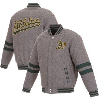 オークランド・アスレチックス JH Design Embroidered Logo Reversible Wool Full-Snap ジャケット - Gray