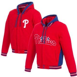 フィラデルフィア・フィリーズ JH Design Embroidered Logo Reversible Fleece Hooded Full-Snap ジャケット - Red/Royal