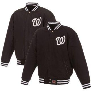 ワシントン・ナショナルズ JH Design Embroidered Logo Reversible Wool Full-Snap ジャケット - Black