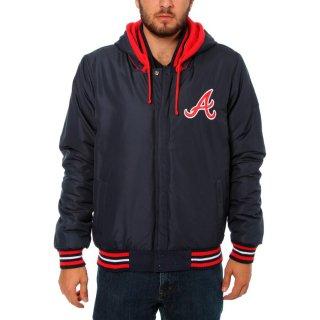 アトランタ・ブレーブス JH Design Embroidered Logo Fleece Hooded Full-Snap ジャケット - Navy/Red