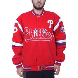 フィラデルフィア・フィリーズ JH Design Embroidered Logo Twill Full-Snap ジャケット - Red
