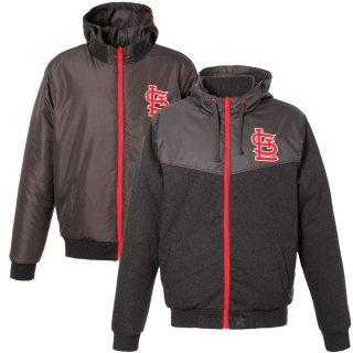セントルイス・カージナルス JH Design Embroidered Logo Reversible Fleece Full-Zip Hooded ジャケット - Charcoal