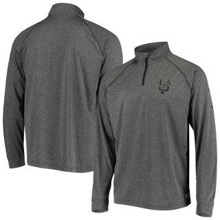 サンフランシスコ・ジャイアンツ Stitches Two-Hit Quarter-Zip Raglan Pullover ジャケット - Heathered Gray