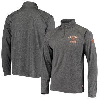 サンフランシスコ・ジャイアンツ Stitches Team Quarter-Zip Raglan Pullover ジャケット - Heathered Black