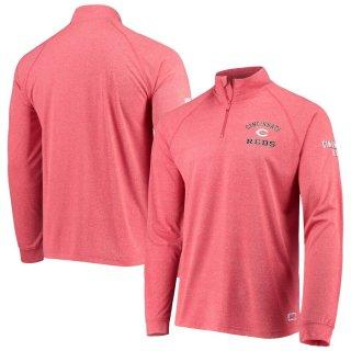 シンシナティ・レッズ Stitches Team Quarter-Zip Raglan Pullover ジャケット - Heathered Red