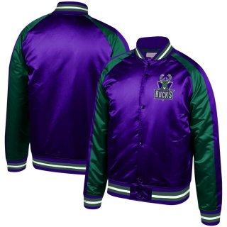 ミルウォーキー・バックス ミッチェルアンドネス Hardwood Classics Colorblock Satin Raglan Full-Snap ジャケット - Purple