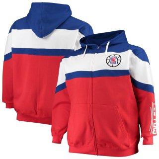 ロサンゼルス・クリッパーズ Majestic Color Block Wordmark Logo Big & Tall Full-Zip Hoodie - Royal/White