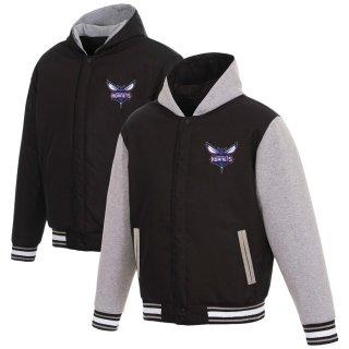 シャーロット・ホーネッツ JH Design Reversible Poly-Twill Hooded ジャケット with Fleece Sleeves - Black/Gray