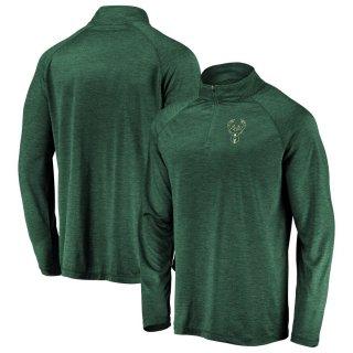 ミルウォーキー・バックス Fanatics Branded Iconic Striated Raglan Quarter-Zip Pullover ジャケット - Hunter Green