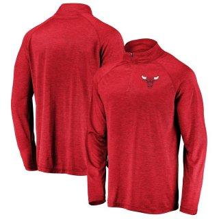 シカゴ・ブルズ Fanatics Branded Iconic Striated Raglan Quarter-Zip Pullover ジャケット - Red