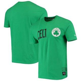 ボストン・セルティックス New Era Wordmark Logo Cut & Sew Applique Brushed T-シャツ - Kelly Green