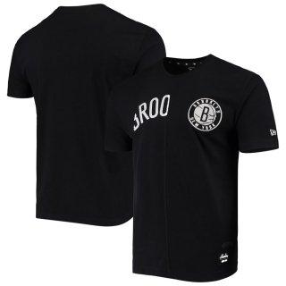 ブルックリン・ネッツ New Era Wordmark Logo Cut & Sew Applique Brushed T-シャツ - Black