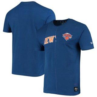 ニューヨーク・ニックス New Era Wordmark Logo Cut & Sew Applique Brushed T-シャツ - Royal