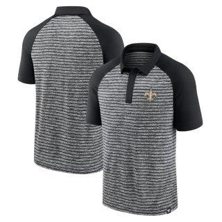 ニューオーリンズ・セインツ Fanatics Branded Line Up Shadow Stripe Raglan ポロシャツ - Black