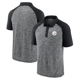 ピッツバーグ・スティーラーズ Fanatics Branded Line Up Shadow Stripe Raglan ポロシャツ - Black